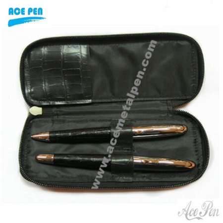 Genuine Leather Pen Set in leather pouch