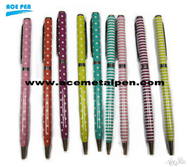 Popular and Elegant Stripe Twist metal ballpoint pens for promotion