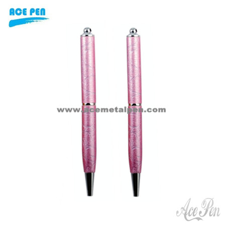 Fashion Pink Leather Ball Pen