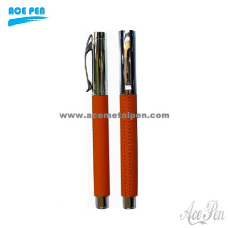 Elegant Leather Ball Pen and Roller Ball Pen Set