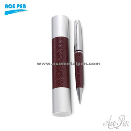 PU leather pen set with ball pen and leather pouch