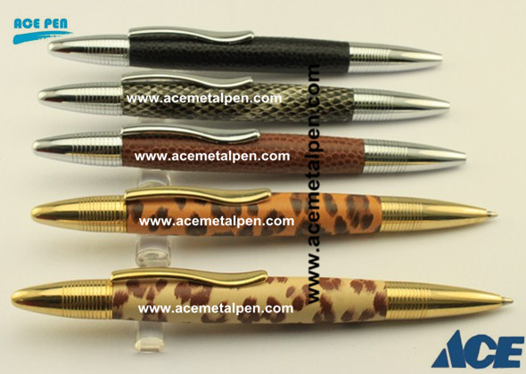 PU leather covered ball pens in Chrome and Gold plating