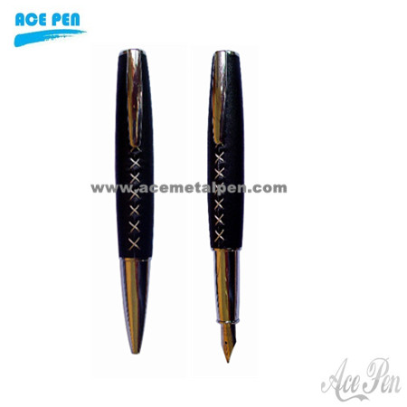 Popular Learther Fountain Pen and roller ball pen set with stitches tube