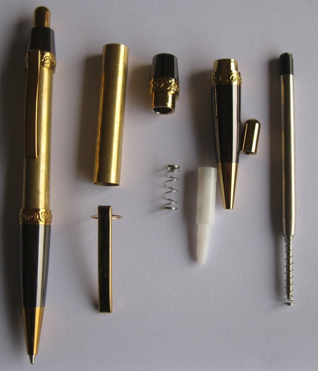 Elegant Sierra Click Pen in Black Chrome/Titanium Gold and chrome